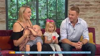 TV INTERVIEW WITH TWO KIDS. ONE WANTING TO BREASTFEED!