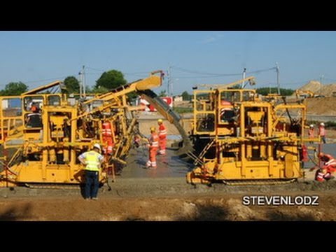 Concreting - Construction of Highways - Machines in action - Autostrada A1