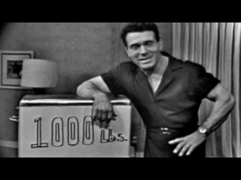 Jack Lalanne lifts 1000 pounds on his show.