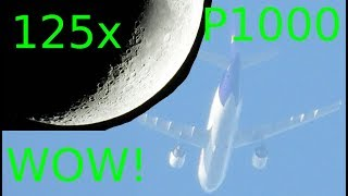 Nikon P1000 zoom video tests. Moon, jet airplane, birds