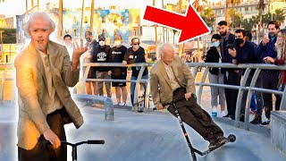 Old Man Scooter Tricks in Venice Beach! (Skaters Mad)