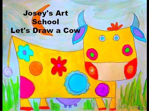 Joseys Art School Episode #128: Folk Art Cow Kids Art Drawing Lesson