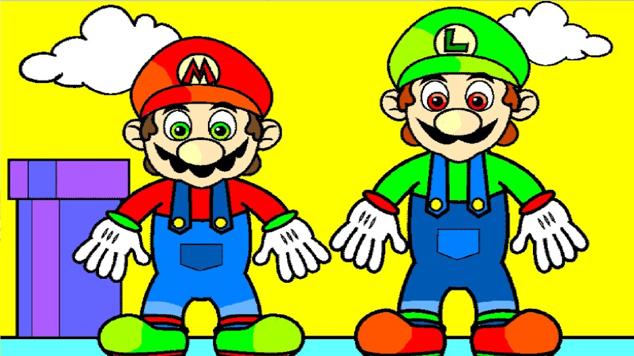 coloring pages with mario and luigi youtube