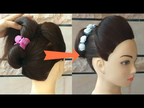 EASY WEDDING HAIRSTYLE FOR LONG HAIR \\ PARTY HAITSYLE FOR GIRLS \\ BUN HAIRSTYLE WITH TRICKS thumbnail