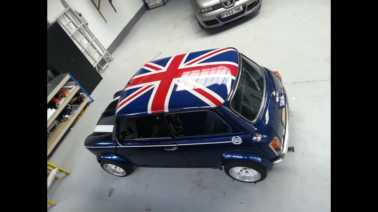 classic mini union jack roof graphic install youtube. Black Bedroom Furniture Sets. Home Design Ideas