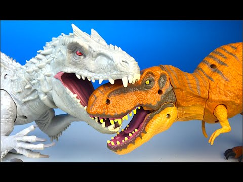 NEW JURASIC WORLD STOMP & STRIKE TYRANNOSAURUS REX AND CHOMPING INDOMINUS REX FIGURE FIGHT