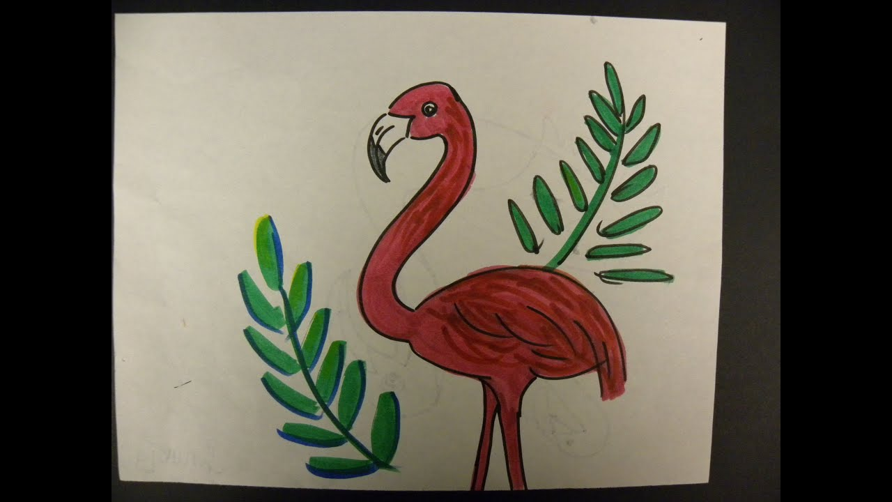 kids can draw flamingo