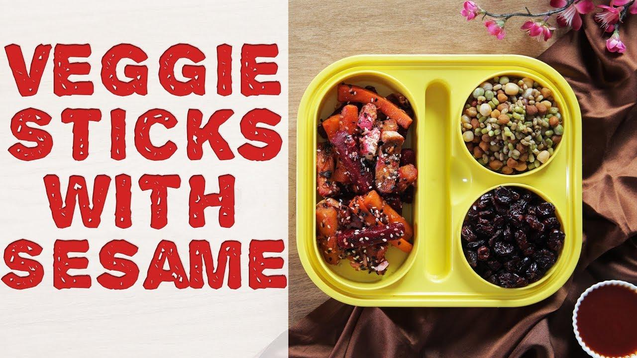 Crunchy Veggie Sticks Recipe   Homemade Vegetable Sticks w/ Sesame   Healthy Tiffin Recipe For Kids