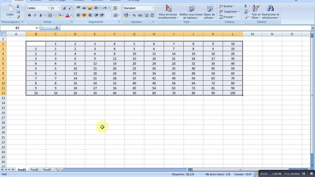 Excel Creation Du Table De Multiplication Reference Absolue Youtube