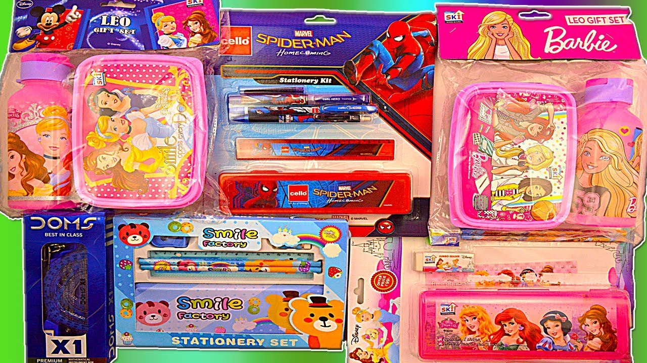 db84825251c0 Barbie Tiffin Box set, Disney Princess Lunch Box water bottle set and  Spider man Pencil Box set