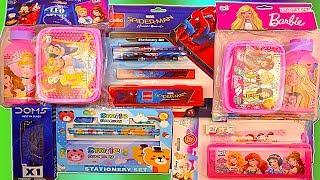 Barbie Tiffin Box set, Disney Princess Lunch Box water bottle set and Spider man Pencil Box set