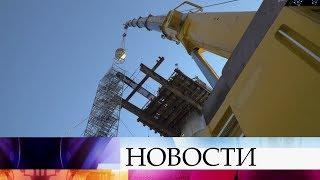 В Керченском проливе установлена последняя опора железнодорожной части Крымского моста.