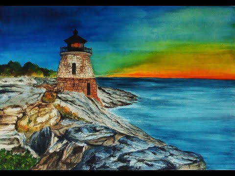 Watercolor Painting: Lighthouse | Speedpainting