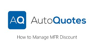 How to manage MFR Discounts in AQ
