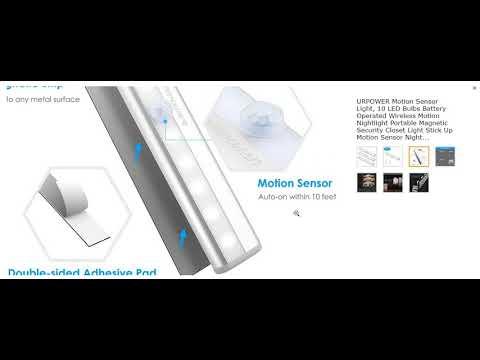 URPOWER Motion Sensor Light 10 LED Bulbs Battery Operated Wireless Motion
