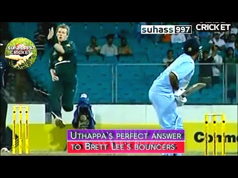 3 NO BALLS and Lee forgets how to bowl ! ROBIN UTHAPPA's PERFECT ANSWER TO BRETT LEE's BOUNCERS !!