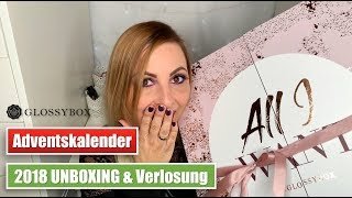 Glossybox Adventskalender 2018 UNBOXING | High End Kosmetik | Verlosung | RealSweetSunny