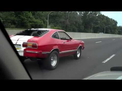 1975 Mustang 2 Cobra Replica Red White Stripes on Highway
