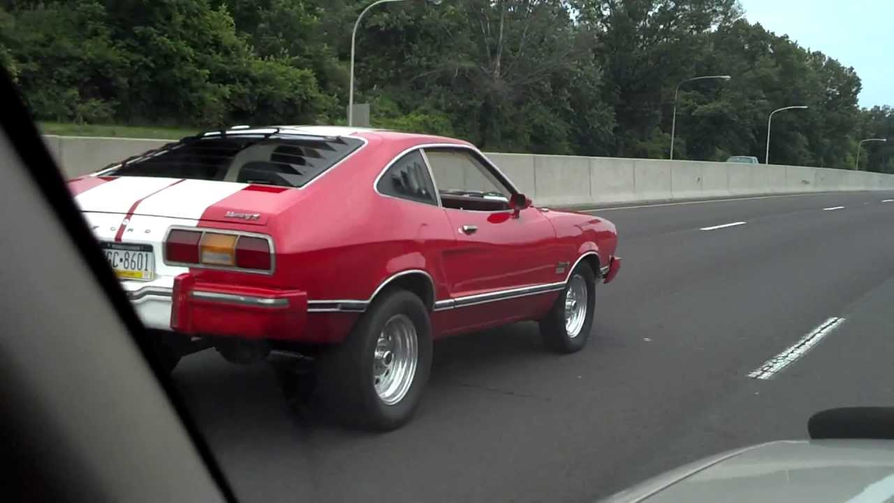 1975 Mustang 2 Cobra Replica Red White Stripes on Highway - YouTube