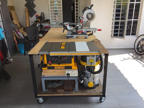 DIY mobile workbench table saw with outfeed folding table - DEWALT TABLE SAW DWE7470