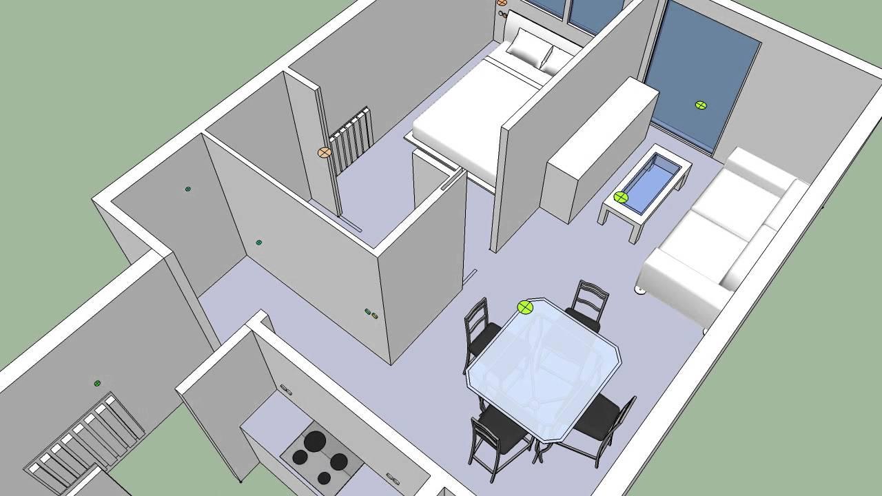 Plano hecho 3d para una instalacion youtube for Plano instalacion electrica