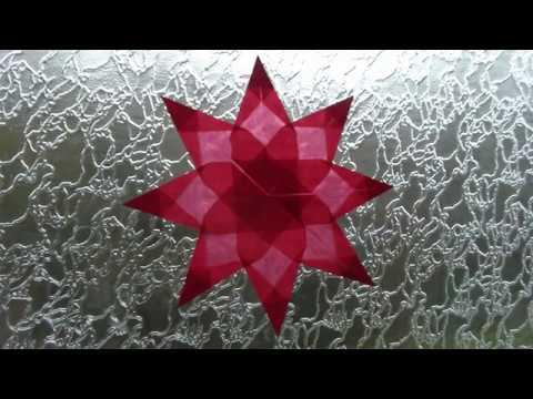 Weihnachtlicher Transparentpapier-Fensterstern Rot, Origami-Stern falten, DIY Basteln