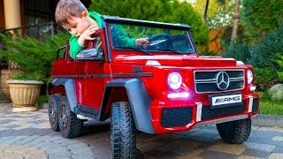 Artem and Unboxing new toy Mercedes g63 AMG 6x6 Review Kid Ride On Car