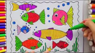 Learn to draw fish at once and color. learn for a child who is happy