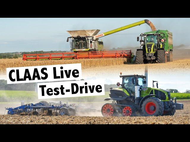 Test Drive Claas Axion 960 Terra Trac, Claas Lexion 8900 Terra Trac und Claas CEMOS   #claaslive