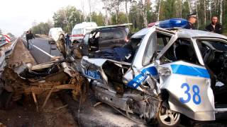 Страшное ДТП с участием ДПС на трассе М-5 / A terrible accident involving the police(, 2013-09-08T11:09:53.000Z)