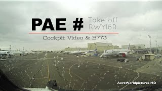 Take-off at EVERETT Paine Field airport (PAE/KPAE) Boeing factory - cockpit view