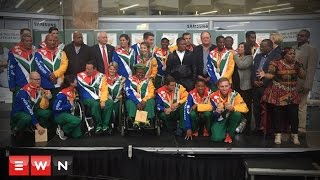 Fans welcomed Team SA's Paralympic team back from the Rio 2016 Games where they earned 17 medals.  Click here to subscribe to Eyewitness news: http://bit.ly/EWNSubscribe  Read full article on Eyewitness news: http://ewn.co.za/2016/09/20/Team-SA-returns-home-to-fanfare-at-OR-Tambo-airport   Like and follow us on: http://bit.ly/EWNFacebook AND https://twitter.com/ewnupdates   Keep up to date with all your local and international news: https://ewn.co.za    Produced by: Kgothatso Mogale