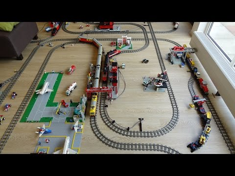 Huge Lego 9 volt train dream layout fully automated by Arduino