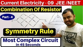 Current Electricity 09 : Symmetry Rule : Combination of Resistor -4 : Most Complex Circuits JEE/NEET