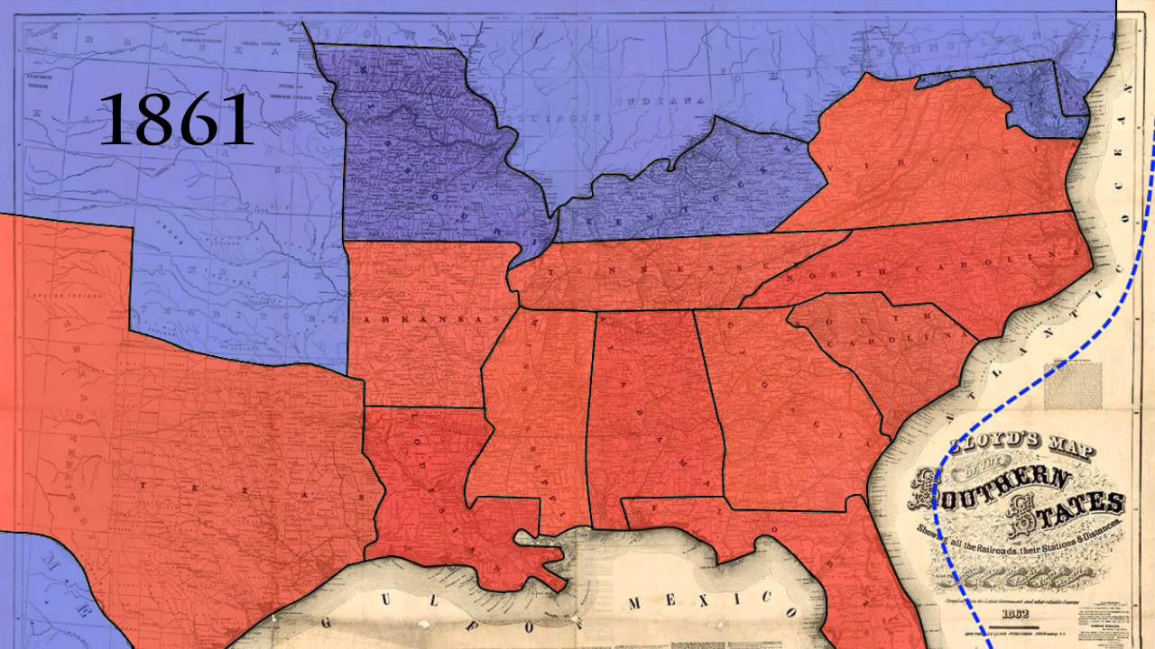 American Civil War Animated Map Template YouTube - Us map 1861
