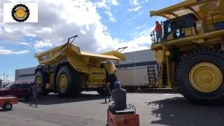 Komatsu 930E dump truck moving out of Minexpo 2016