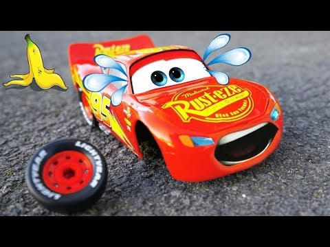Today i have a new video ; Lightning McQueen Wheel Fell Off with Banana