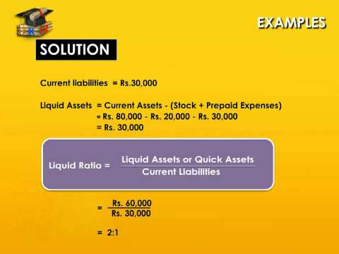 Liquid Ratio - Liquid Assets - Current Liabilities - Learn A
