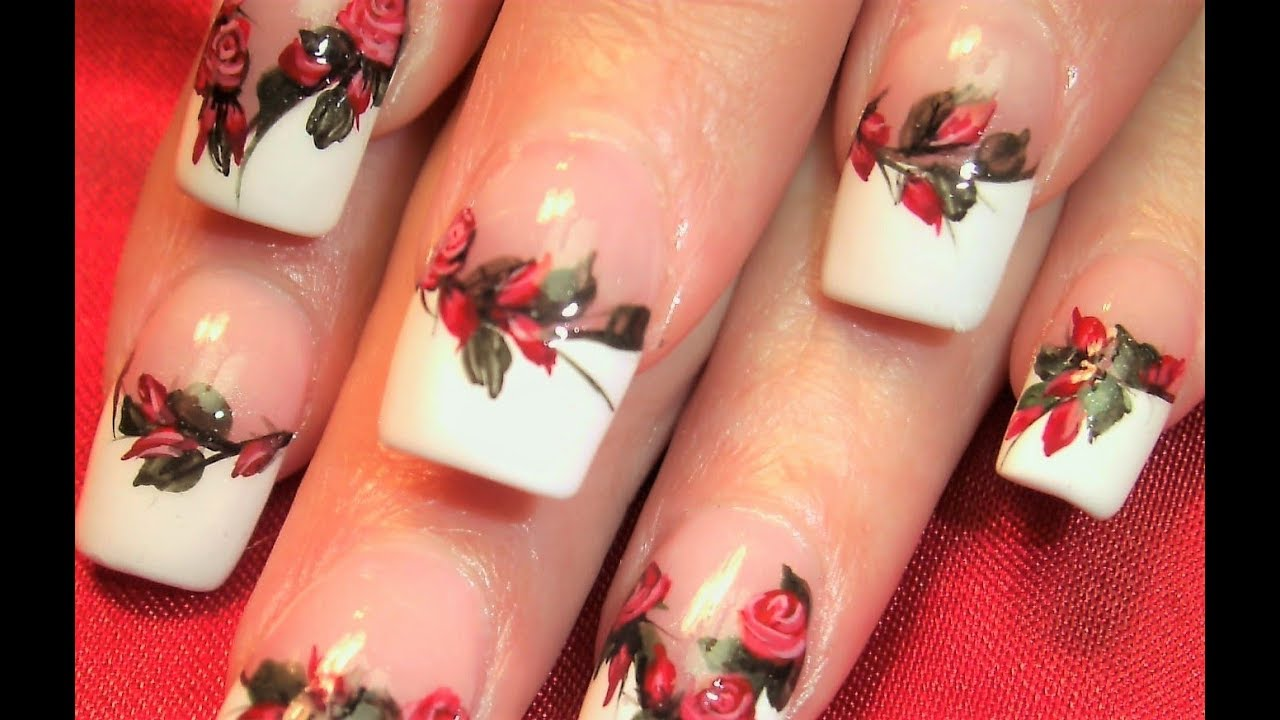 Red Rose Nails Classis Hand Painted Roses Nail Art Design Tutorial