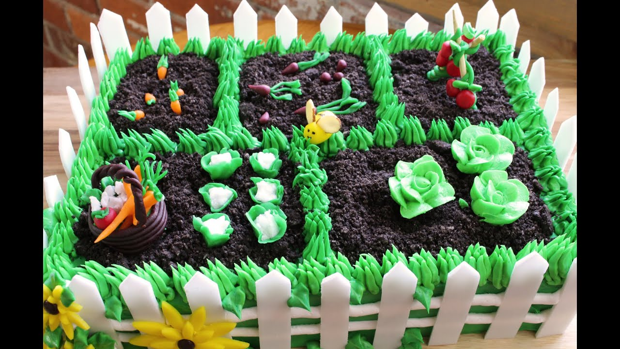 How to make a vegetable garden cake youtube for Vegetable garden cake ideas