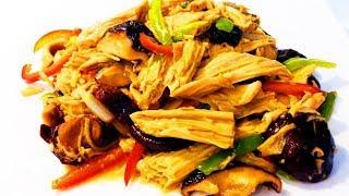 Китайская кухня. Жареная соевая спаржа с грибами сянгу