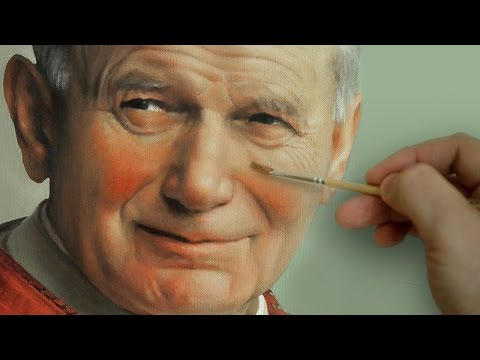 St. Pope John Paul II - Photorealistic Portrait Oil Painting
