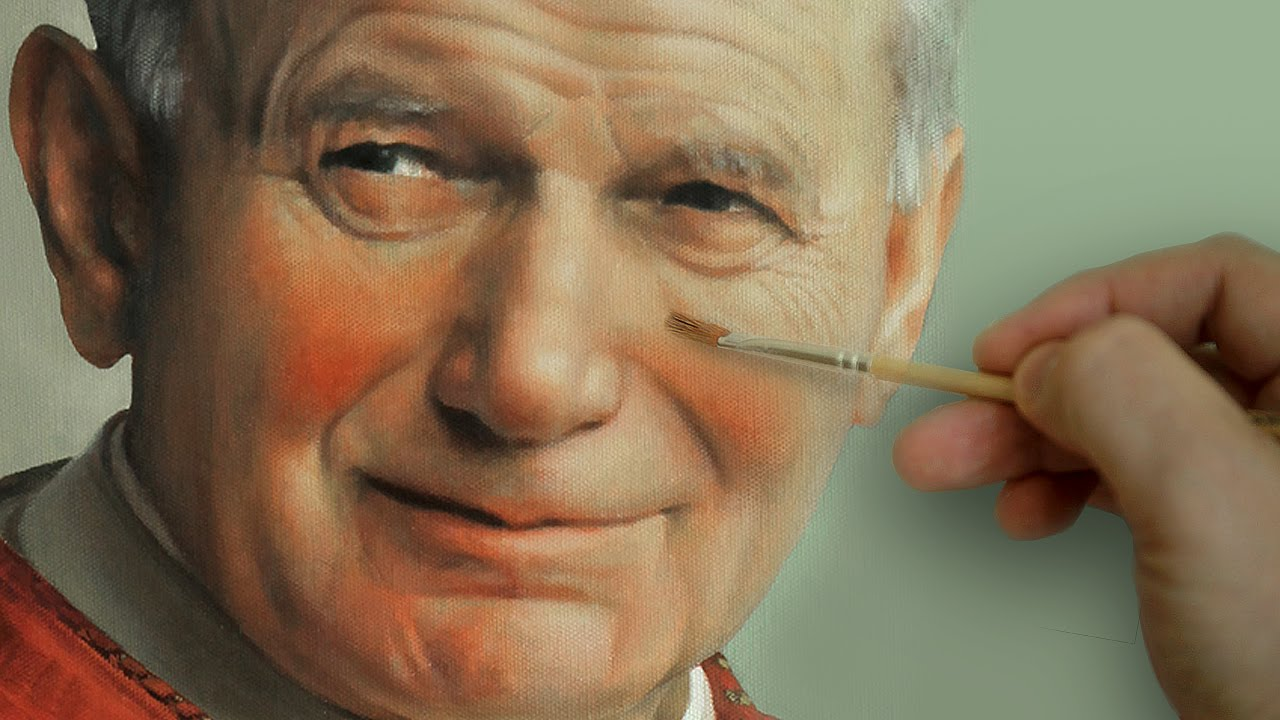 St. Pope John Paul II - Photorealistic Portrait Oil Painting - YouTube