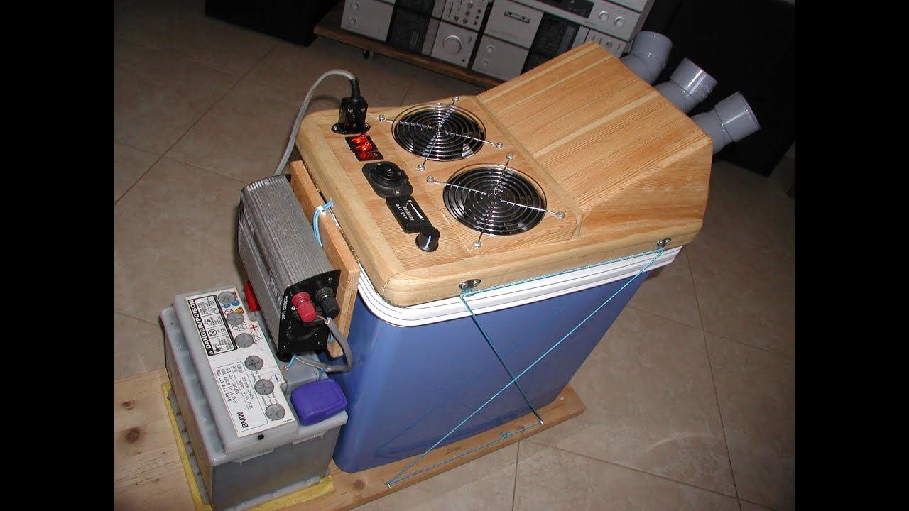 HOMEMADE DIY SOLAR POWERED AIR CONDITIONER  COOLER 12v DC