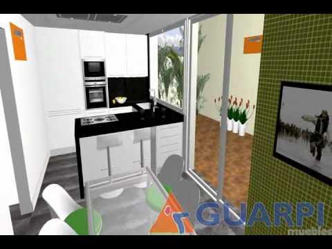 Proyecto de cocina moderna con pen nsula youtube for Cocinas modernas blancas con peninsula