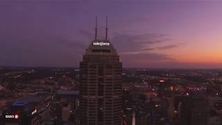 Downtown Indianapolis Drone Flight at Dusk