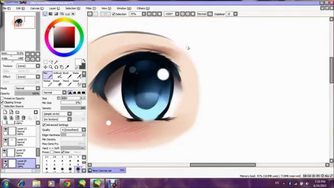 [paint Tool Sai] Tutorial  How To Draw Anime Girl Eye  Youtube