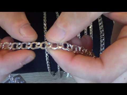 Виды плетения цепи бисмарк, серебро