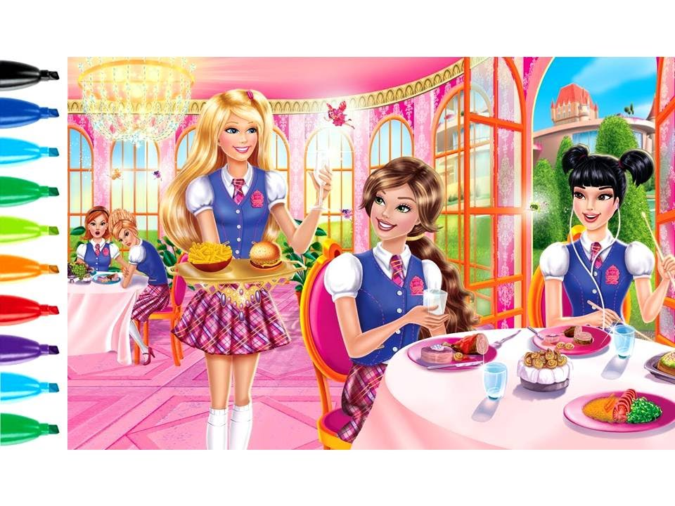 Easy Drawing Tutorials Barbie On The School Cafe Kids Coloring Book