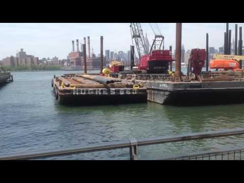 Williamsburg Brooklyn NYC Waterfront, East River Ferry and extending Pier
